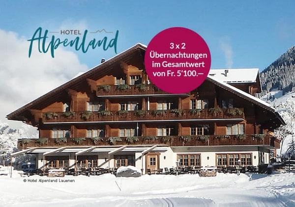 3x 2 Übernachtungen im Doppelzimmer im Hotel Alpenland in Lauenen gewinnen